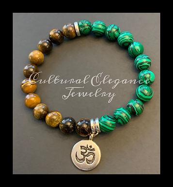 "Tiger's Eye and Malachite ""Yoga"" Bracelet"