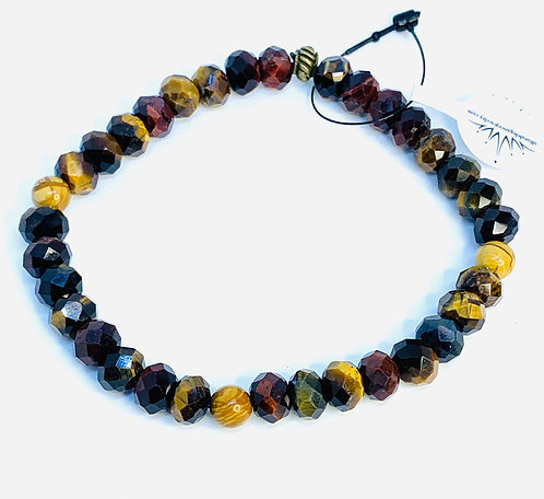Facet Multi-colored Tiger's Eye and Petrified Wood Bracelet