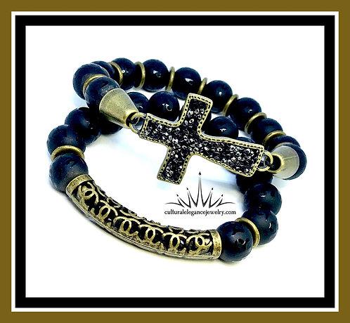 Etched Onyx w/Metal Cross/Tube Bracelet Set
