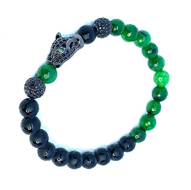 Emerald and Black Agate Panther Bracelet