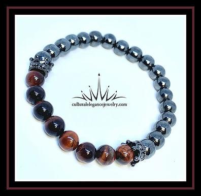 Red Tiger's Eye and Hematite w/Crown Bracelet
