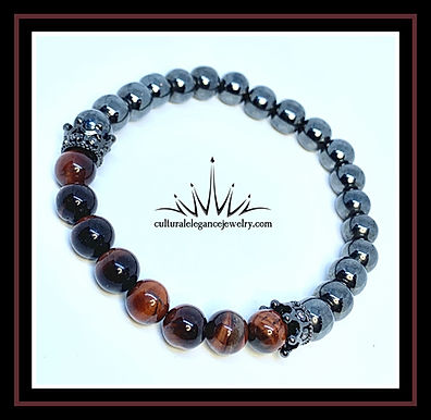 Red Tiger's Eye and Hematite w/Crown Bracelet