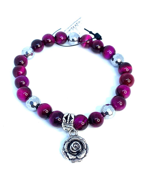 Fuchsia Tigers Eye Rose Bracelet