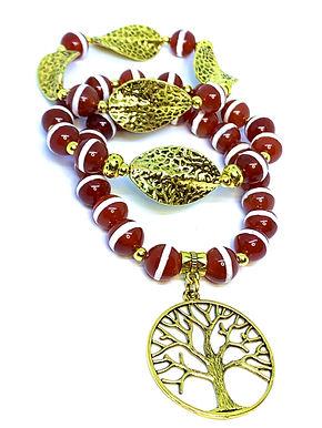 Orange Agate Tree of Life Bracelet Stack (3)