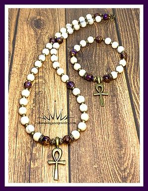 """Ivory Jade """"Ankh"""" Necklace and Bracelet Set"""