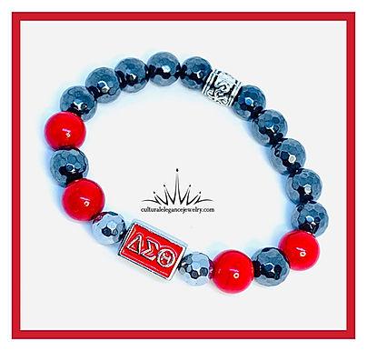 "Delta Sigma Theta ""Inspired"" Bracelet Hematite w/Red"
