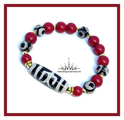 Tribal Red Howlite w/Gold Bracelet