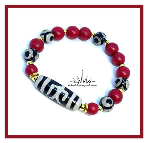 Tribal Red Howlite w/Gold Bracelet