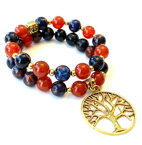 Orange Sodalite and Agate Tree of Life Bracelet Set