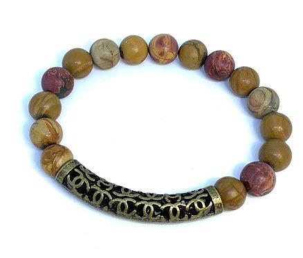 Red Creek Jasper w/Bronze Bar Bracelet