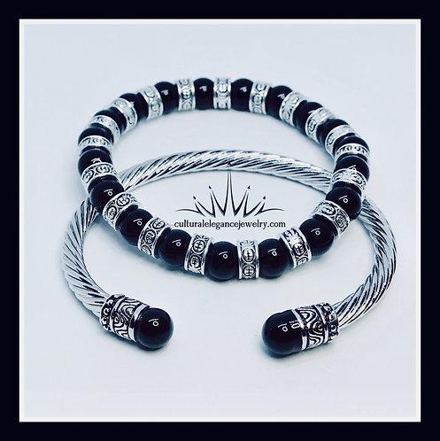 Obsidian Bangle Set
