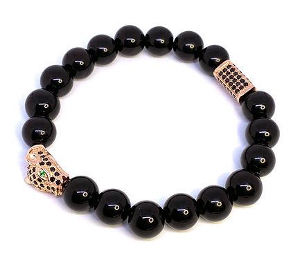 Rose Gold and Obsidian Panther Bracelet
