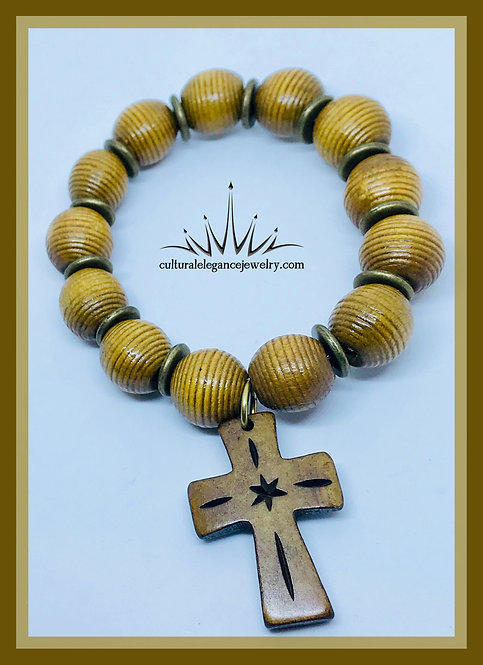 Wooden Beads w/ Wooden Cross Bracelet (Light Brown)