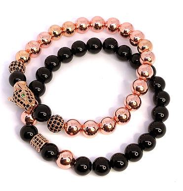 Rose Gold and Obsidian Panther Bracelet Set