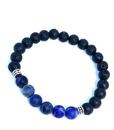 Matte Sodalite and Black Agate Bracelet