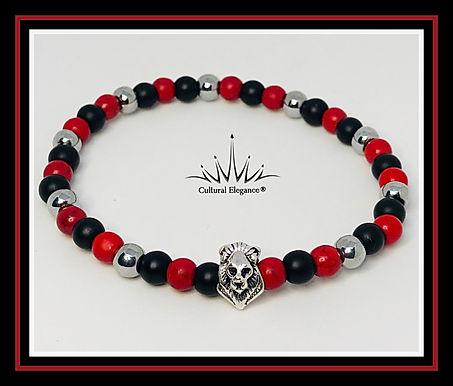 Lion's Head Bracelet: Red/Black/Silver