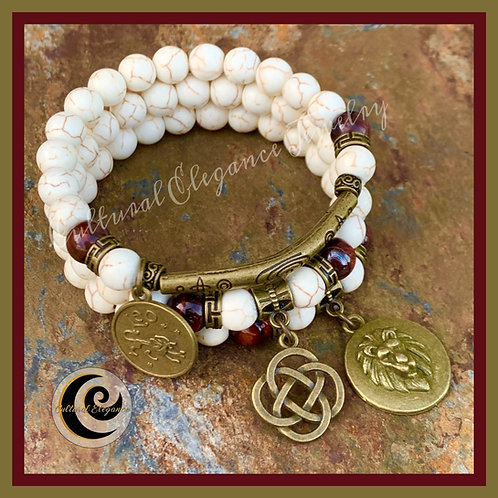 Beige Howlite & Red Tiger's Eye Bracelet Stack (3)