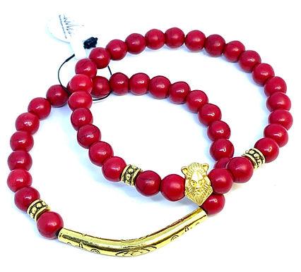 Red Howlite Lion Bracelet Set