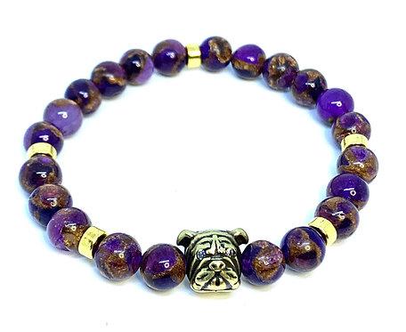 "Purple Amethyst Quarts ""Bulldog"" Bracelet"