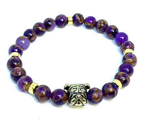 "Purple Amethyst Quartz ""Bulldog"" Bracelet"