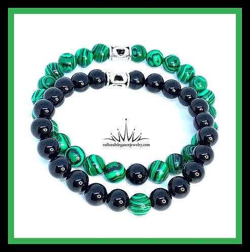 Malachite and Obsidian Couples Bracelet