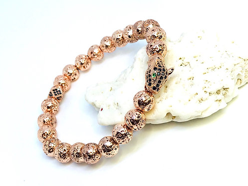 Rose Gold Lava Rock Panther Bracelet