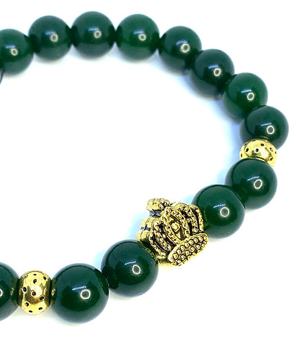 Dark Green Jade Crown Bracelet