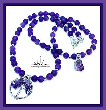 """Amethyst """"Tree of Life"""" Necklace w/Heart Clasp"""