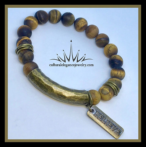 """""""Emo"""" Bracelet (Yellow and Brown) Natural Stone"""