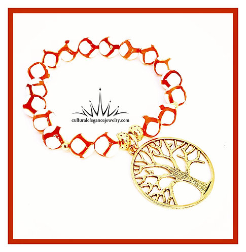 Red Orange Agate Scoccer w/Gold Tree of Life
