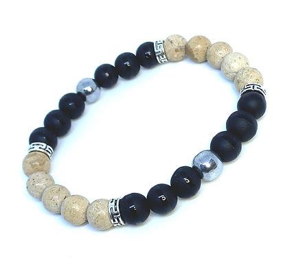 Black Agate and African Opal Bracelet Set