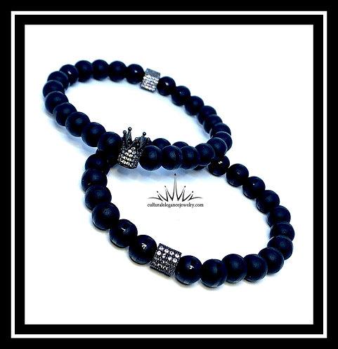 Onyx King Crown (Black) Bracelet Set