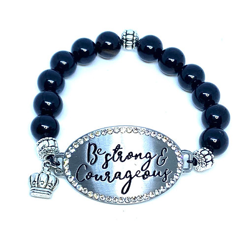 "Obsidian ""Be Strong and Courageous"" Bracelet"