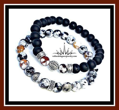 White/Orange/Black Agate and Onyx