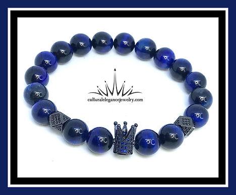 Blue Tiger's Eye King Crown (Black)