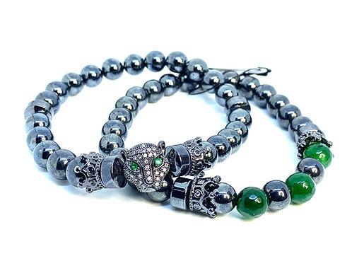 Hematite and Green Tiger's Eye Bracelet Set
