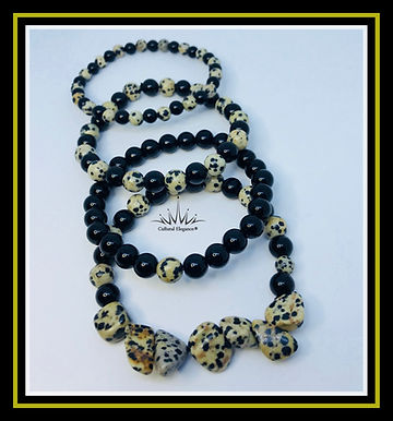 Cheetah Chip and Black Bracelet Stack
