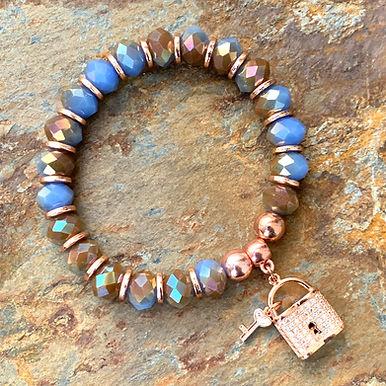 Rose Gold & Multi-faceted Lock Bracelet