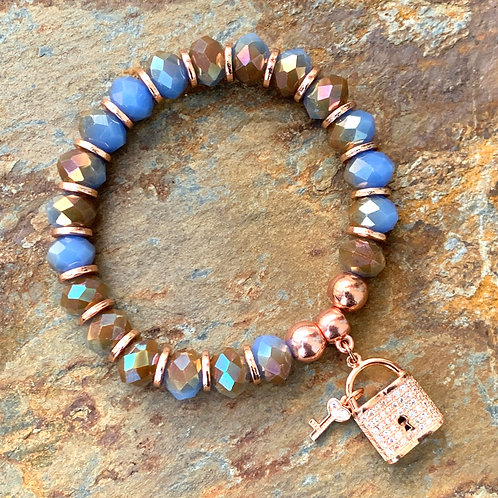 Rose Gold & Multi-faceted Lock Bracelet