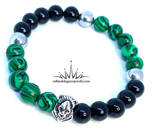 Malachite and Onyx Lion Bracelet