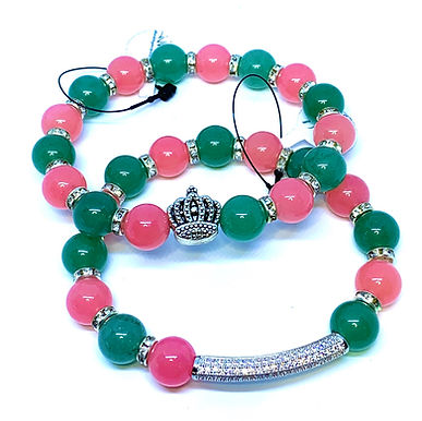 Rose Quartz and Jade w/Crown and Bar Bracelet Set