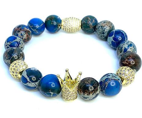 Carolina Blue Sea Sediment Jasper Crown Bracelet