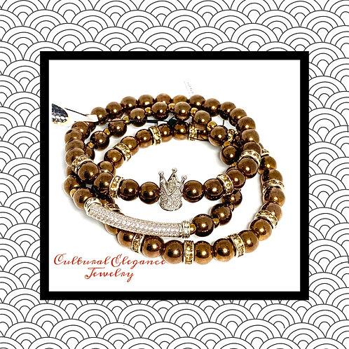 Bronze Hematite Bracelet Stack (3)