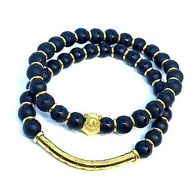 Black Agate Lion's Bracelet Set