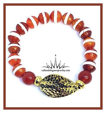Red Orange Agate Stripe w/Gold Leaf