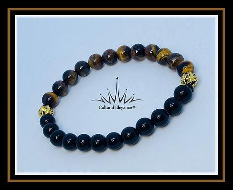 Onyx and Tiger's Eye Two-tone Bracelet
