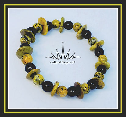 Natural Gemstone Yellow Black Speck Jasper/Black Onyx Bracelet