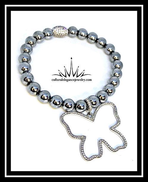 "Silver Hematite ""Butterfly"" Bracelet"