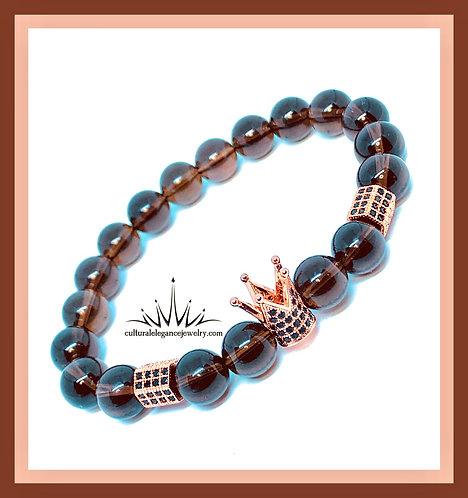 Smoky Quartz and Rose Gold Crown Bracelet