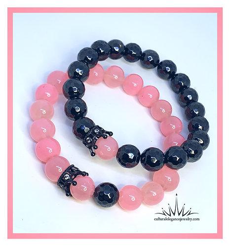Rose Quartz and Hematite w/Crown Couples Bracelet